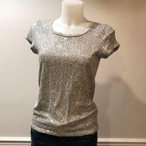 Calvin Klein Silver Sparkly Sequins T- Shirt
